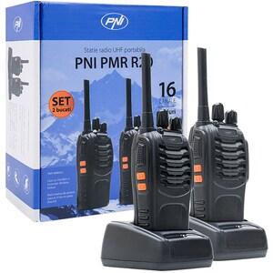 Set 2 statii radio UHF portabile PNI PMR R20, 2 Acumulatori