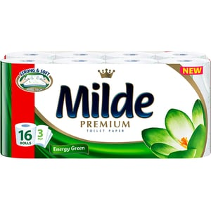 Hartie igienica MILDE Energy Green, 3 straturi, 16 role