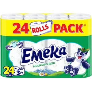 Hartie igienica EMEKA Mount Fresh, 3 straturi, 24 role