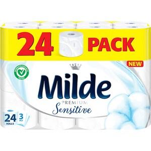 Hartie igienica MILDE Sensitive, 3 straturi, 24 role
