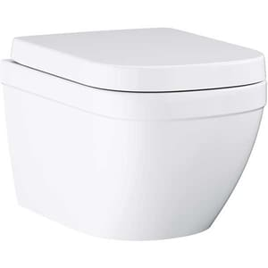 Set vas toaleta GROHE Euro 39554000, montaj suspendat, evacuare orizontala, cu capac, alb