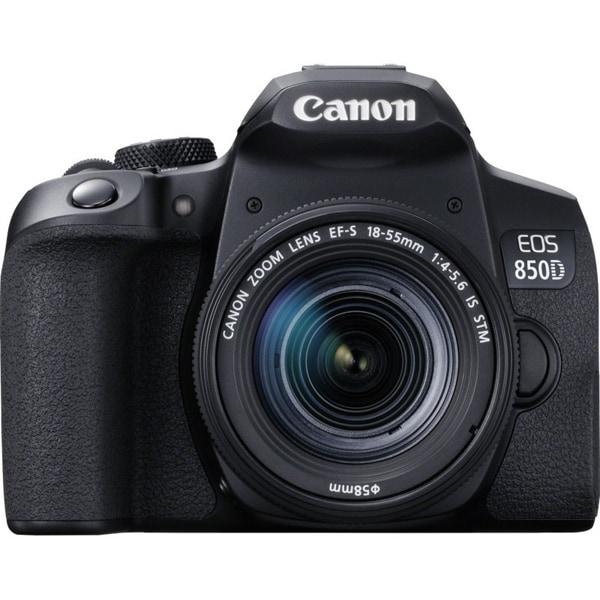 Aparat foto DSLR CANON EOS 850D, 24.1 MP, 4K, Wi-Fi, negru, Obiectiv 18-55mm EF-S