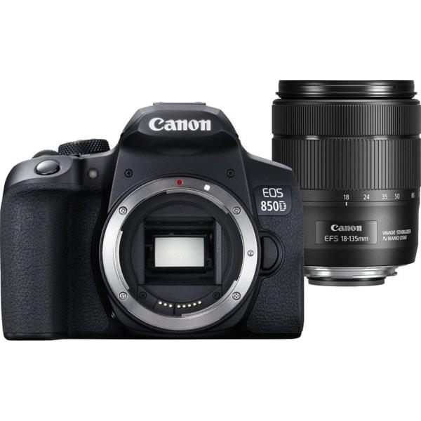 Aparat foto DSLR CANON EOS 850D, 24.1 MP, 4K, Wi-Fi, negru, Obiectiv 18-135mm EF-S