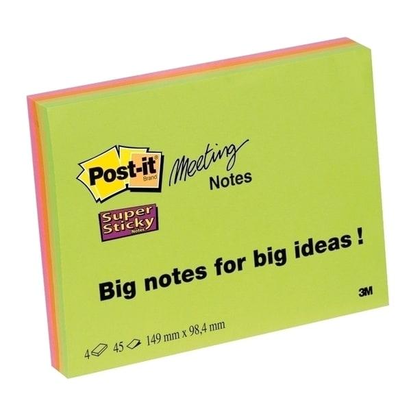 Set notite adezive 3M Super Sticky, 3 x 45 file, 149  x  149mm, diverse culori