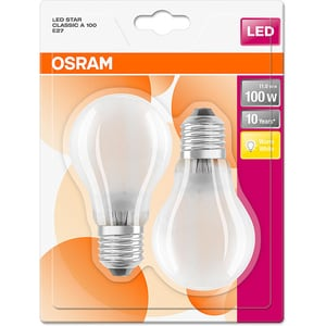 Set de 2 becuri LED OSRAM MAT A100, 11W, E27, lumina calda