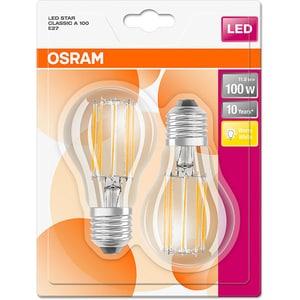 Set de 2 becuri LED OSRAM A100, 11W, E27, lumina calda