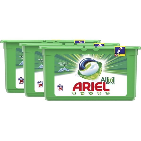 Detergent capsule ARIEL All in One PODS Mountain Spring, 117 spalari