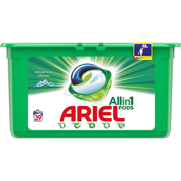 Detergent capsule ARIEL All in One PODS Mountain Spring, 39 spalari