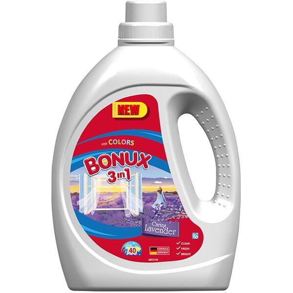 Detergent lichid BONUX 3IN1 Color Caring Lavender, 2.2L, 40 spalari