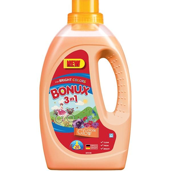 Detergent lichid BONUX 3IN1 Colors Glow, 1.1L, 20 spalari