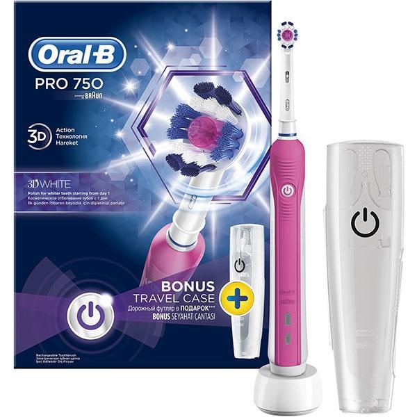 Periuta de dinti electrica ORAL-B PRO 750, 1 program, 48800 pulsatii/min, 1 capat, roz