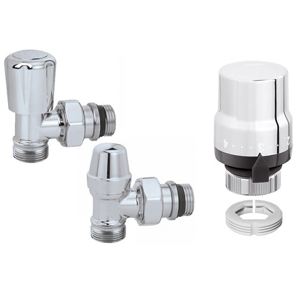 """Set robineti calorifer CALEFFI 42338040, tur temostatabil + retur + cap termostatat, 1/2"""" FI-FE"""