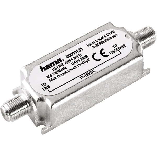 Amplificator semnal SAT Inline HAMA 44131, 20 dB, argintiu