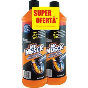 Gel pentru desfundat tevi MR. MUSCLE 3in1, 2x1000ml