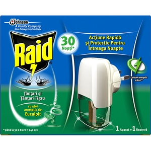 Aparat electric anti-tantari RAID Liquid Eucalipt, 30 nopti, 21 ml