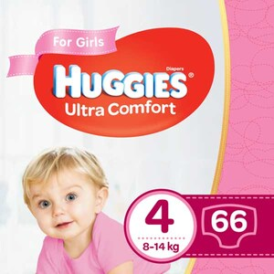 Scutece HUGGIES Ultra Comfort nr 4, Fata, 8 - 14 kg, 66 buc