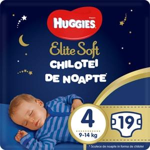Scutece chilotel HUGGIES Elite Soft Overnight nr 4, Unisex, 9-14 kg, 19 buc