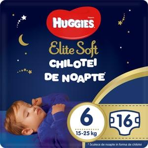 Scutece chilotel HUGGIES Elite Soft Overnight nr 6, Unisex, 15-25 kg, 16 buc