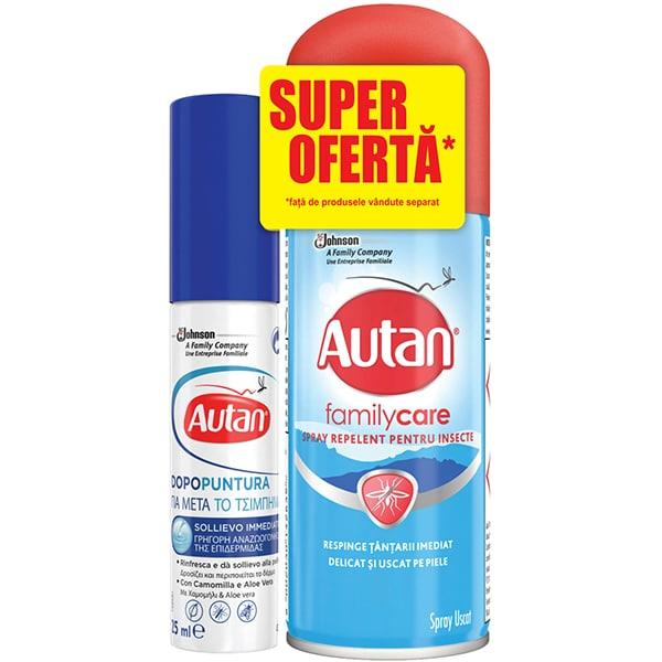 Set Spray repelent anti-tantari AUTAN Family Care, 100 ml + Lotiune pentru tratarea intepaturilor AUTAN Mentol, 25 ml