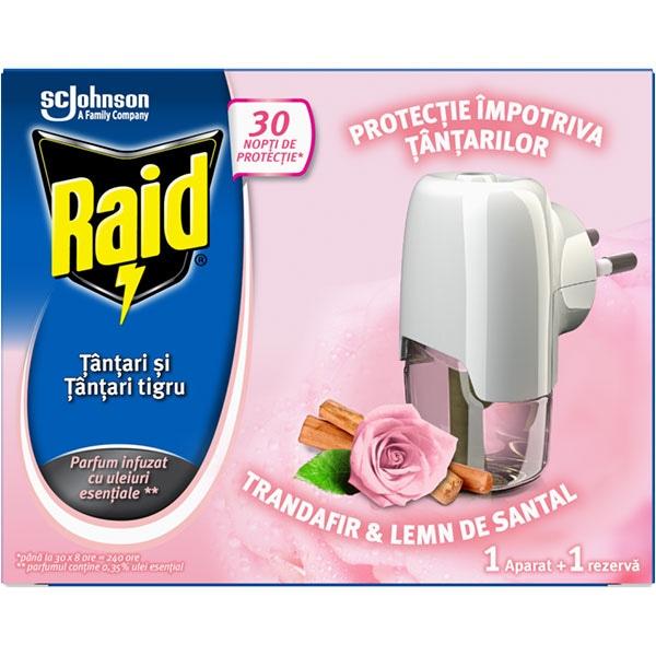 Aparat electric anti-tantari RAID + rezerva Trandafir & Lemn de santal, 21 ml