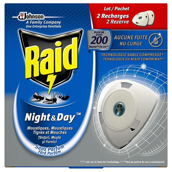 Set rezerve aparat electric anti-tantari, muste si furnici RAID Night & Day, 20 zile/60 nopti