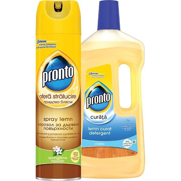 Pachet spray pentru mobila PRONTO Springtime, 300ml + detergent pentru parchet PRONTO Lemn curat, 750ml
