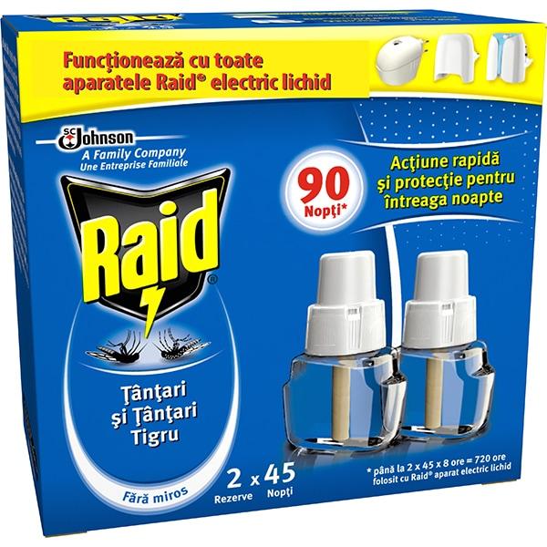 Set rezerve aparat electric anti-tantari RAID, 90 Nopti, 2 x 27 ml