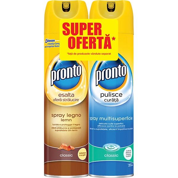 Pachet spray pentru mobila PRONTO Lemn Clasic + PRONTO multisuprafete, 2x300ml