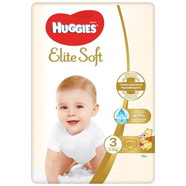 Scutece HUGGIES Elite Soft nr 3, Unisex, 5-9 kg, 80 buc
