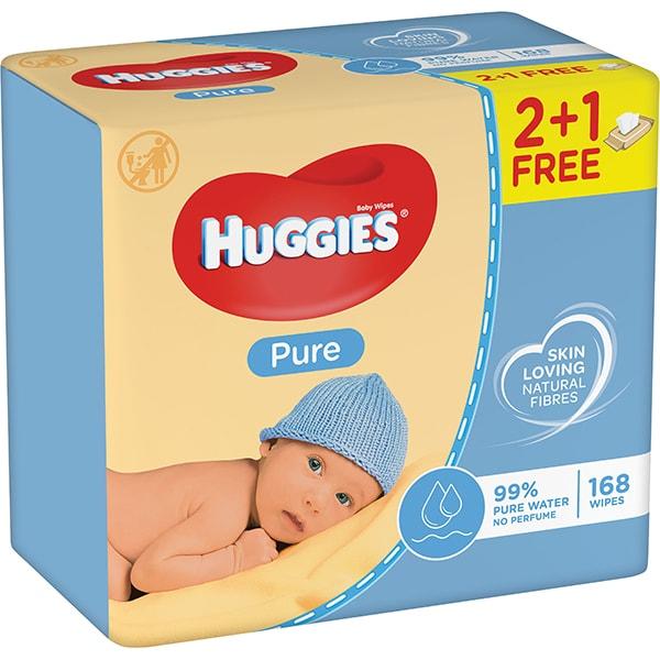 Servetele umede HUGGIES Pure, 2+1 pachete, 168 buc