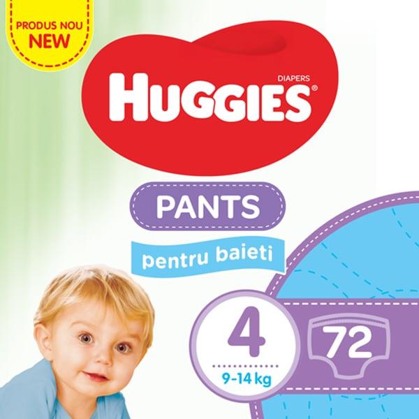 Scutece chilotei HUGGIES nr 4, Baieti, 9 - 14 kg, 72 buc