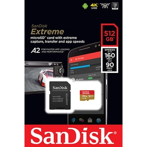 Card de memorie SANDISK Extreme microSDXC, 512GB, clasa 10 V30 A2 UHS-I, 160MBs, 90MBs, adaptor