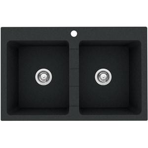 Chiuveta bucatarie PYRAMIS Premium Bowls, 2 cuve, compozit granit, negru