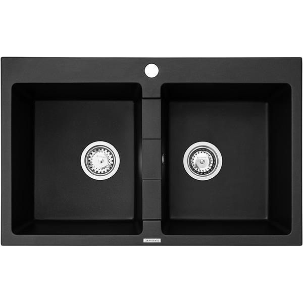 Chiuveta bucatarie PYRAMIS Premium Bowls, 2 cuve, compozit granit, carbon
