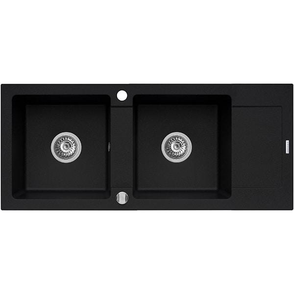 Chiuveta bucatarie PYRAMIS Premium Plus XXL, 2 cuve, compozit granit, carbune