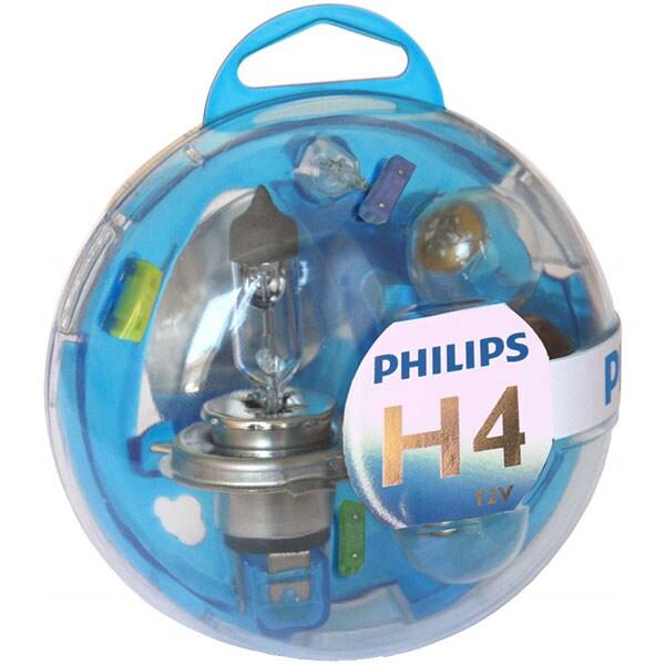 Kit rezerva bec auto halogen PHILIPS Essential Box, H4, 12V, 60/55W