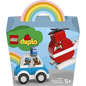 LEGO Duplo: Elicopter de pompieri si masina de politie 10957, 18 luni+, 14 piese