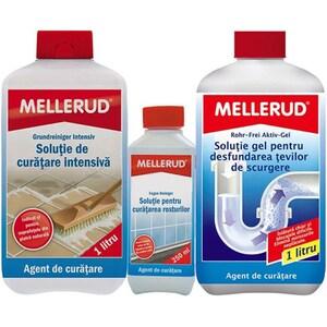Pachet MELLERUD: Solutie de curatare intensiva, 1 l + Gel pentru desfundarea tevilor, 1 l + Solutie pentru curatarea rosturilor, 250 ml