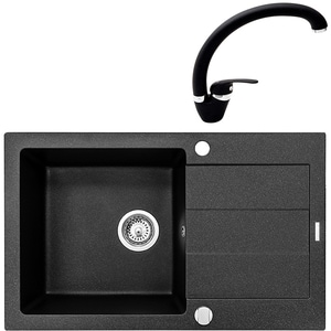 Pachet chiuveta PYRAMIS Class Plus Smart, compozit granit + baterie, negru