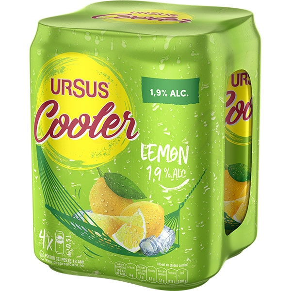 Bere blonda URSUS Cooler Lemon bax 0.5L x 4 cutii