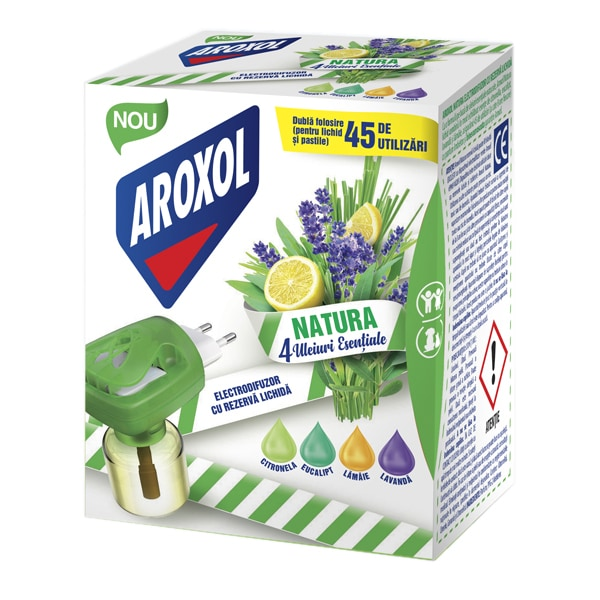 Aparat electric anti-tantari AROXOL Natura 4 uleiuri, 45 Utilizari