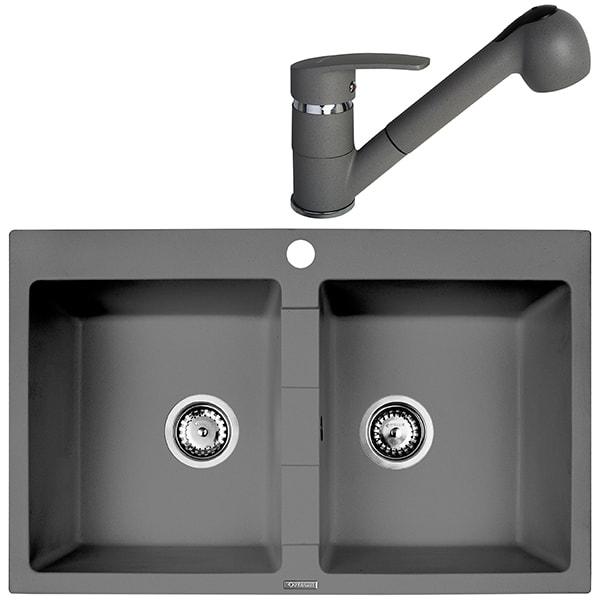 Pachet chiuveta PYRAMIS Class Bowls, compozit granit + baterie, grey