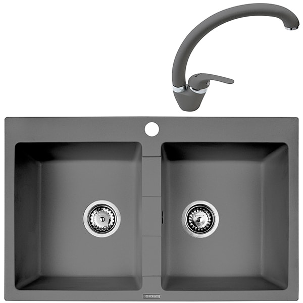 Pachet chiuveta PYRAMIS Econom Bowls, compozit granit + baterie, grey
