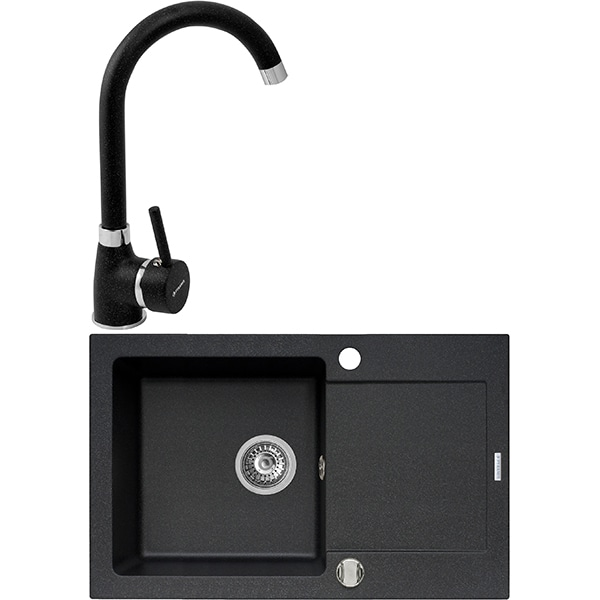Pachet chiuveta PYRAMIS Premium Class, compozit granit + baterie, negru