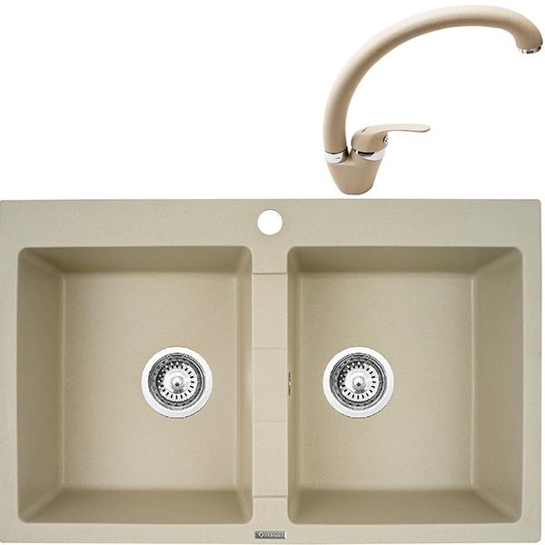 Pachet chiuveta PYRAMIS Econom Bowls, compozit granit + baterie, bej