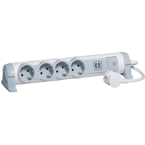 Prelungitor LEGRAND 694615, 4 prize Schuko, 2 x USB, 1.5m, alb-gri