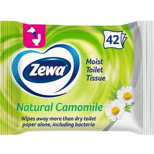Hartie igienica umeda ZEWA Natural Camomile, 42 bucati