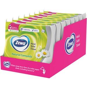 Hartie igienica umeda ZEWA Natural Camomile, 8 pachete, 42 bucati