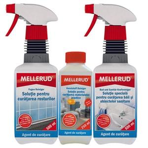 Pachet MELLERUD: Solutie de curatare pentru rosturi, 500ml + Solutie de curatare baie, 500ml + Solutie de curatare a suprafetelor din plastic, 250ml