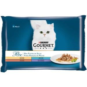 Hrana umeda pentru pisici GOURMET PERLE, Miel si rata, Ton si curcan, 4 x 85 g